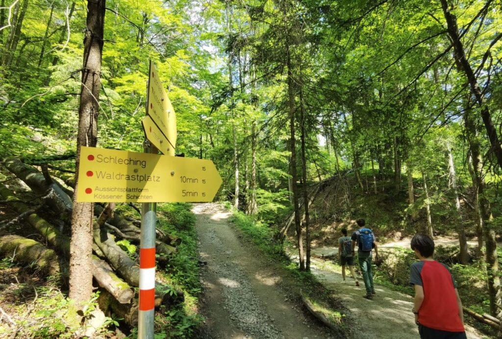 Schmugglerweg Kössen - links der ursprüngliche Schmugglerweg, rechts führt die Variante zur Aussichtsplattform