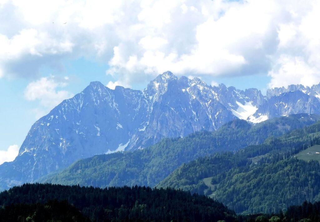 Walchsee Österreich: Blick von Walchsee und Kössen auf das Kaisergebirge